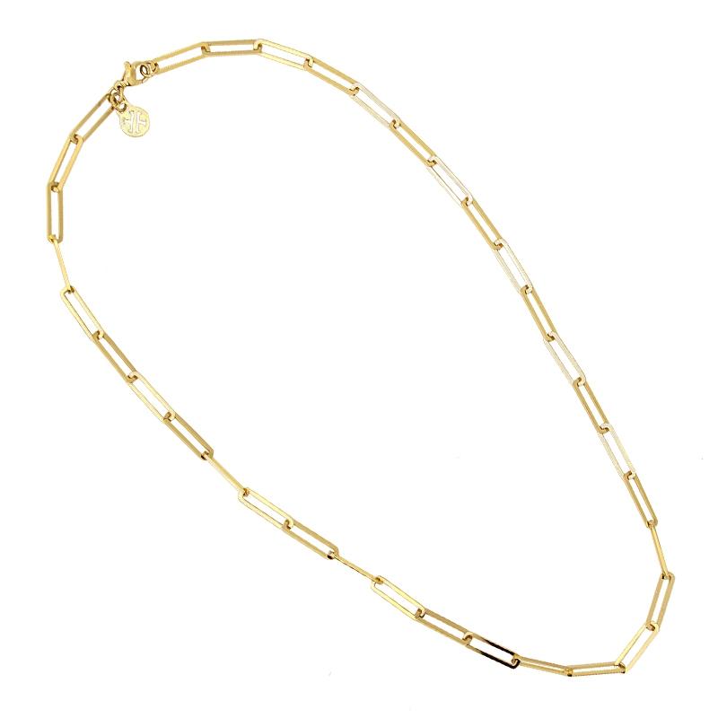 c61897c1df4d Gargantilla con eslabones rectangulares. Acero plata o bañado en oro  amarillo