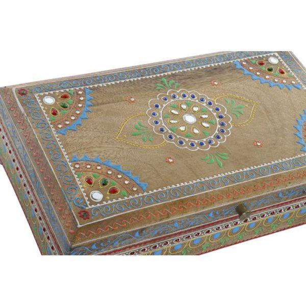 Caja grande con mandala y pintada a mano