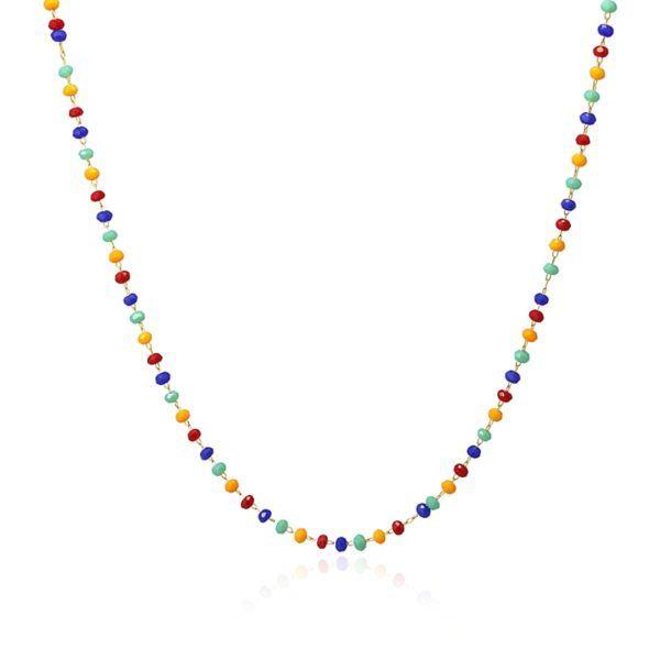 Gargantilla con cristales de colores y acero inoxidable. Colores vivos