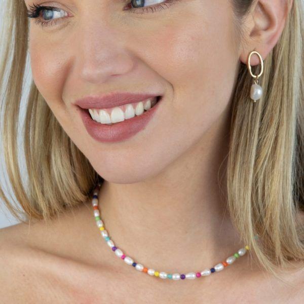 Gargantilla con pulsera de perla natural y piedras de colores