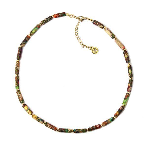 Gargantilla con tubos de piedra natural multicolor