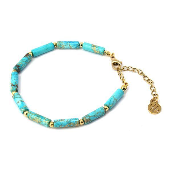 pulsera con cilíndros de piedra color turquesa