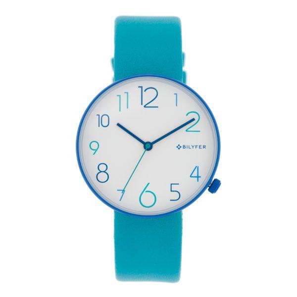 Reloj números-colores esfera blanca. Combinación azules