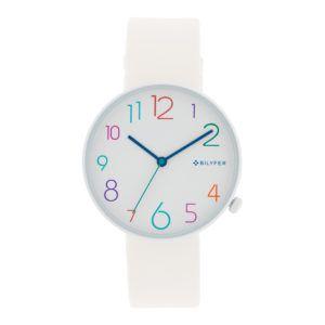Reloj números-colores esfera blanca. Correa blanca, núm. multicolor