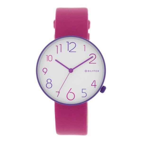 Reloj números-colores esfera blanca. Combinación rosa-morado