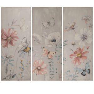 Tríptico lienzo flores mariposas. Vista total