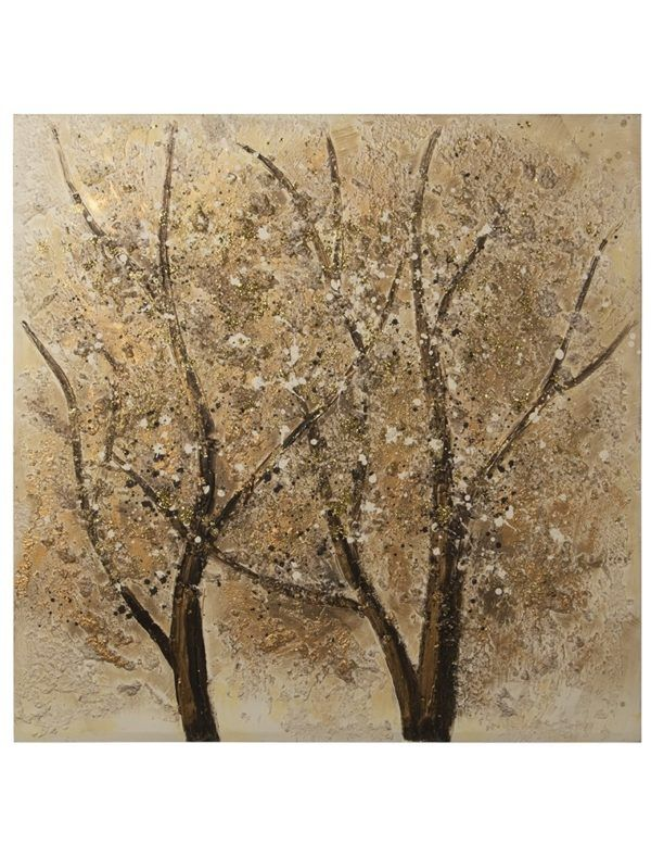 Pintura lienzo árboles dorados. 2 troncos