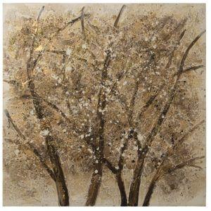 Pintura lienzo árboles dorados. 5 troncos