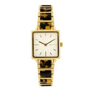 Reloj cuadrado dorado carey