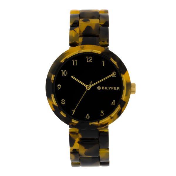 Reloj plástico-acetato carey. Esfera negra