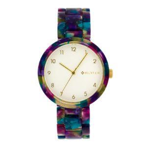 Reloj plástico-acetato de colores. Rosas