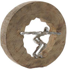 Escultura madera aluminio salto