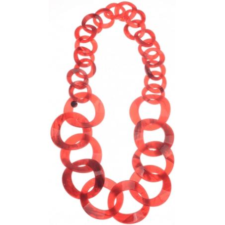 Collar eslabones círculos. Rojo Rojo pasta. Rojo