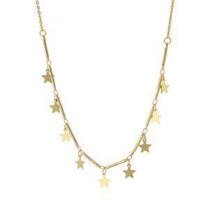 Gargantilla con estrellas colgando. Acero