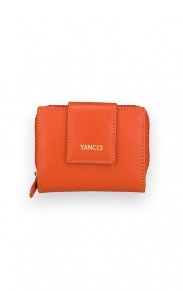 Mini billetero piel colores. Naranja
