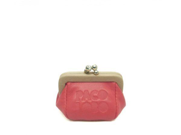 Mini monedero piel boquilla. Coral rosado-arena