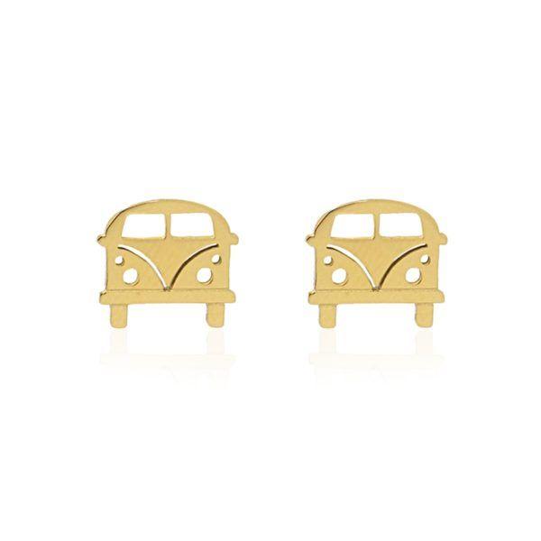 """Pendientes con furgoneta """"volkswagen"""" en acero inoxidable bañado en oro. Disponibles en acero plateado"""