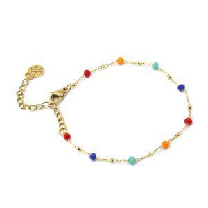 Pulsera con cadena de acero y cristales multicolor intercalados