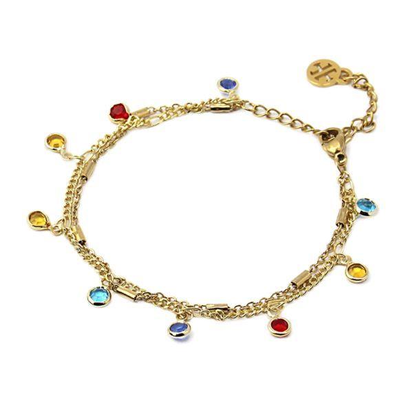 Pulsera 2 cadenas y cristales multicolor colgando