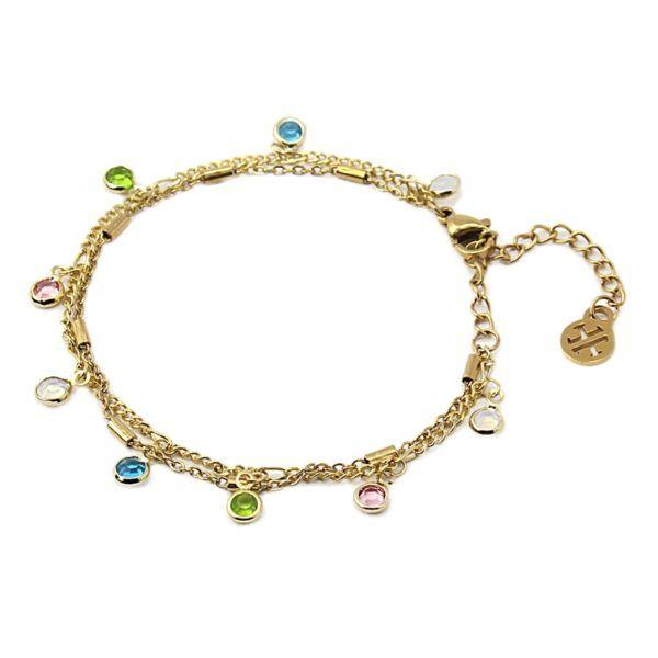 Pulsera 2 cadenas y cristales multicolor colgando. 2