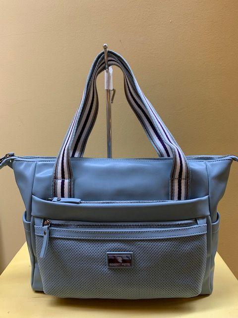 Bolso rectangular asas rayas. Azul