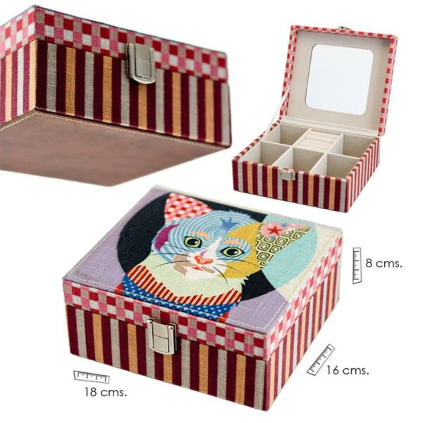 Caja joyero con estampado gato colores