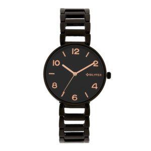 Reloj metálico eslabones calados. Negro