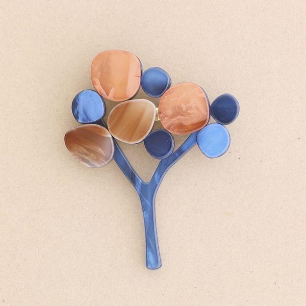 Broche árbol pasta colores. Azul