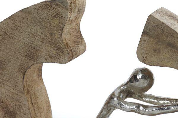 Escultura madera-aluminio hombre empujando. Detalle centro