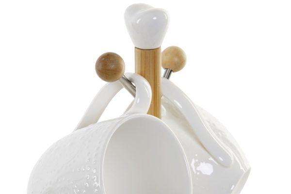 Juego mug porcelana blanca. Vista superior del soporte