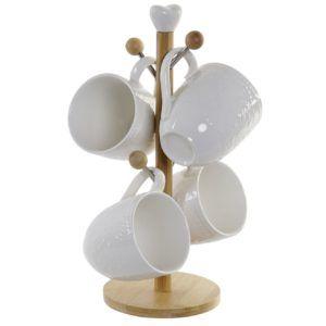 Juego mug porcelana blanca. Con soporte