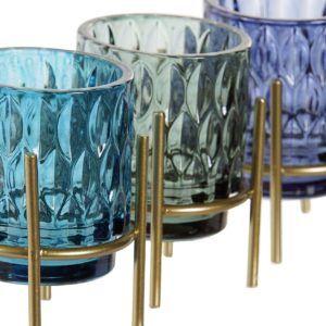 Portavelas vidrio color con soporte