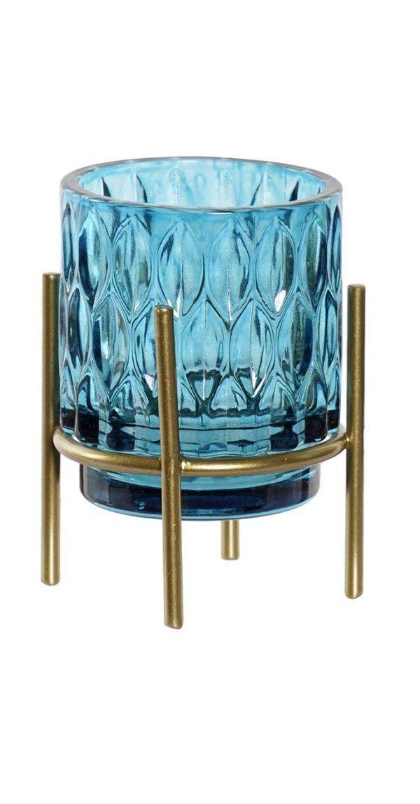 Portavelas vidrio color con soporte. Azul