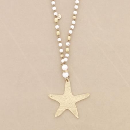 Collar bolas lava con estrella. Blanco