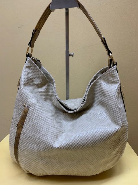 Bolso hobo serpiente brillo. Beig, vista frontal