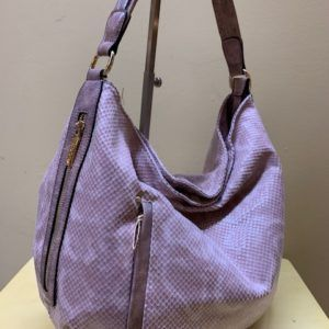Bolso hobo serpiente brillo. Rosa, vista lateral