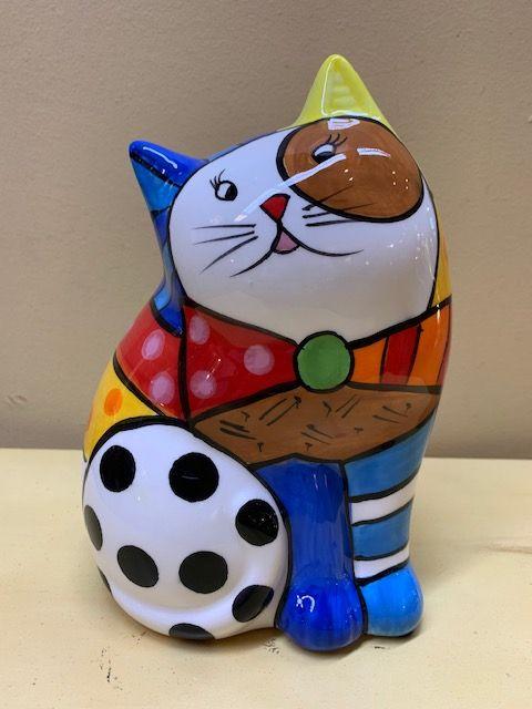 Hucha gato cerámica colores
