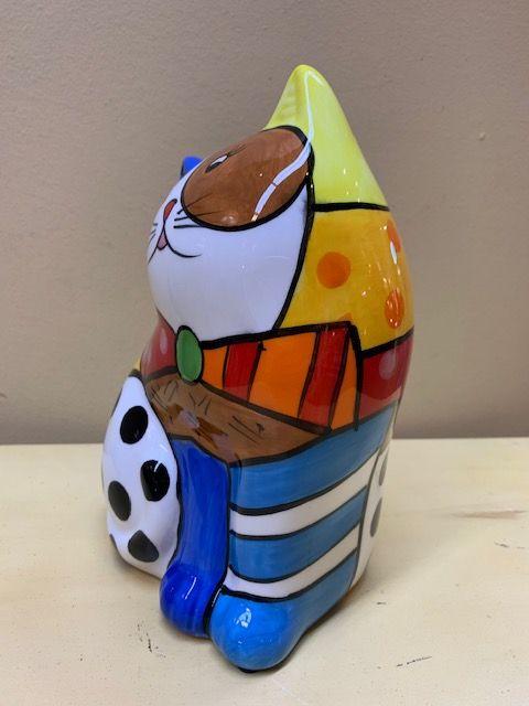 Hucha gato cerámica colores. Lado izquierdo