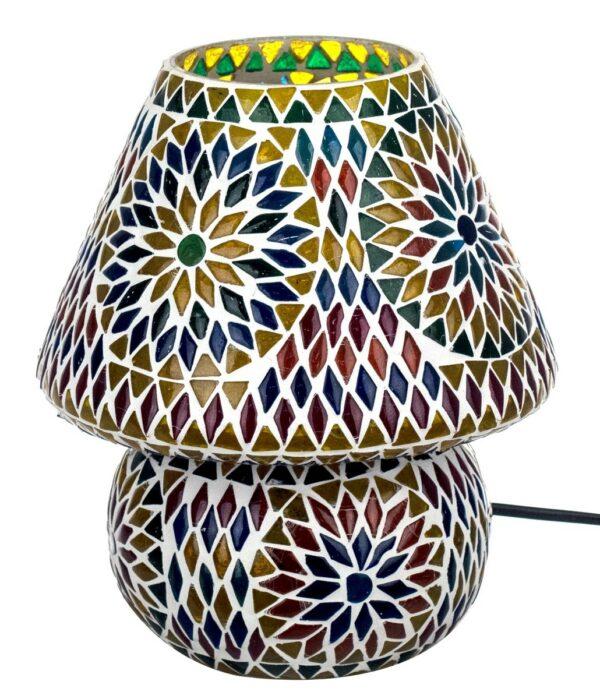 Lámpara mediana con mosaico de cristales de colores. Soles con rombos, apagada