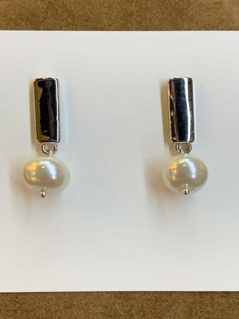 Pendientes colgantes con perla de cristal aplanada