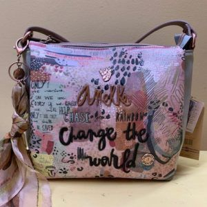 "Bolso Anekke cruzar ""change the world"". Frontal"
