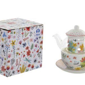 kit individual de tetera de cristal y porcelana flores y mariposas