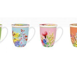 Mug para té de porcelana flores