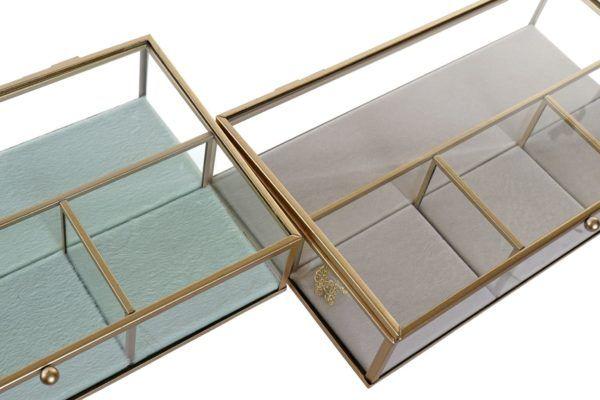 Joyero rectangular de cristal y metal dorado mate. Beige o verde agua