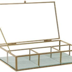 Joyero rectangular de cristal y metal dorado mate