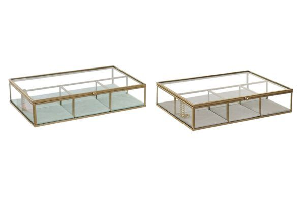Joyero rectangular de cristal y metal dorado mate. Cerrados