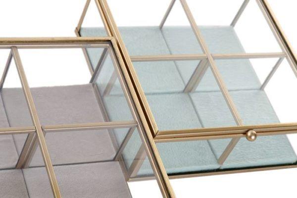Joyero cuadrado de cristal y metal dorado mate. Vista desde arriba de los dos colores