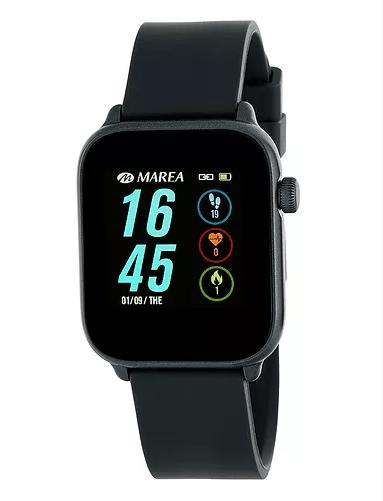 Smart watch unisex de Marea con correa de goma. Negro