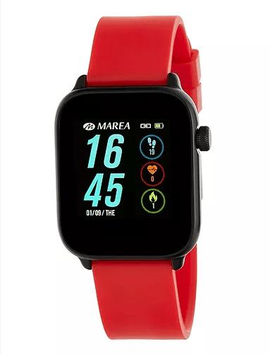 Smart watch unisex de Marea con correa de goma. Rojo