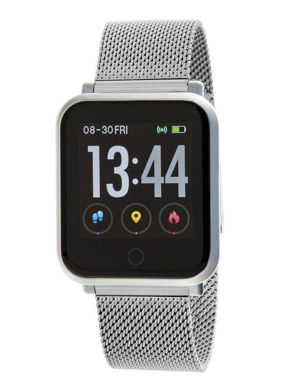 Smart watch con malla milanesa de Marea. Plateado